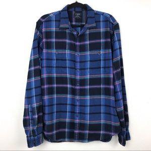 J. Crew Mens Blue Plaid Flannel Shirt Sz Large